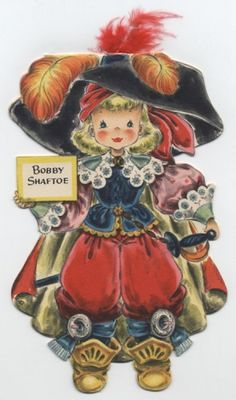 VINTAGE HALLMARK LAND MAKE BELIEVE PAPER DOLL CARD - BOBBY SHAFTOE
