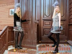 Jacket - Christian Dior vintage, shoes - Emporio Armani, dress - Alyn Paige, clutch vintage, fascinator - no name.