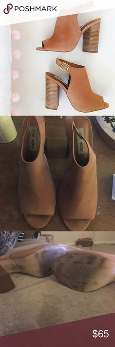 """Steve Madden Cut Out Booties! Tan cut out booties with 3"""" heel - great to wear in the fall and spring! Super comfy! LOVE THEM worn 3 times max Steve Madden Shoes Heeled Boots"""