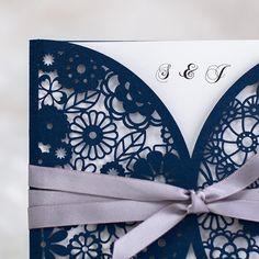 elegant navy blue laser cut wedding invitations with ribbon Elegant Wedding Invitations, Laser Cut Wedding Invitations, Printable Wedding Invitations, Invites, Invitations Online, Pink Lace, Blush Pink, Casual Bride, Blue White Weddings