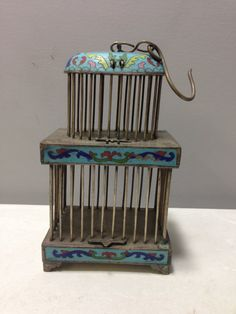 Asian Chinese Cricket Cage Turquoise Cloisonne' Double Cage Cricket Handmade Blue Unique Musical Good Luck Singing Intelligence