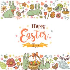 Cute Easter holiday background in doodle style with Cute Easter rabbits on white background.