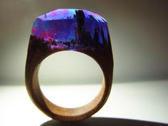 """Walnut ring """"Aurora borealis"""". Womens wood ring. Wood ring resin. Wooden fashion jewelry. In stock 6.0 size by GeppettoJewelry on Etsy"""