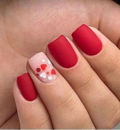 Installation of acrylic or gel nails - My Nails Fancy Nails, Red Nails, Cute Nails, Hair And Nails, Pretty Nails, Diy Valentine's Nails, Pretty Makeup, Unicorn Nails Designs, Valentine's Day Nail Designs