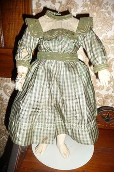 Wonderful antique silk plaid doll dress with great details