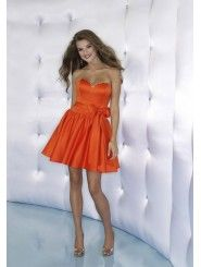 Satin Strapless Sweetheart Fitted Bodice Short Cocktail Dress