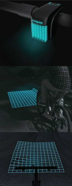Lumigrids is a concept LED projector for bikes that aims to improve night rides. The device would project a square grid onto to the ground, allowing riders to see the terrain ahead.