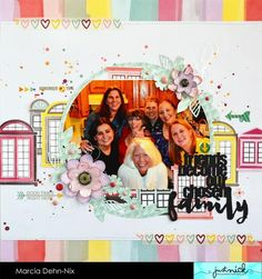 Friends Become Our Chosen Family - scrapbook layout for JustNick Studios using the Floral Ring 2, Friends Become, and Stems For Stephanie digital cut files. I used the gorgeous papers from the Paige Evans Take Me Away collection by Pink Paislee.
