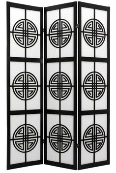 Shoji Screen in Black w Shou Long Life Symbols