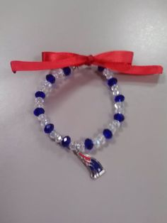 Patriots Football Bracelet by BedazzledBijoux on Etsy, $10.00