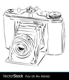 Vintage camera vector image on VectorStock Camera Clip Art, Camera Sketches, Shabby Chic Baby Shower, Christmas Paintings, Vintage Diy, Love Photography, Vector Art, Old Things, Random Things