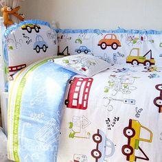 Vivid Cars Print 10-piece Organic Cotton Baby Crib Bedding Set http://www.beddinginn.com/product/Vivid-Cars-Print-10-Piece-Organic-Cotton-Baby-Crib-Bedding-Set-11421475.html, check there: http://www.beddinginn.com/Custom-Crib-Bedding-Sets-106066/