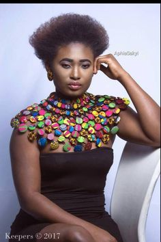 Button Necklace, African Print, Ankara N - Womens Fashion African Attire, African Wear, African Dress, Button Necklace, Fabric Necklace, African Necklace, African Jewelry, Native Wears, African Print Fashion