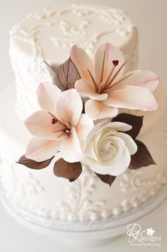 Pink Lilies White Roses Wedding Cake by DK Designs Beautiful & elegant!