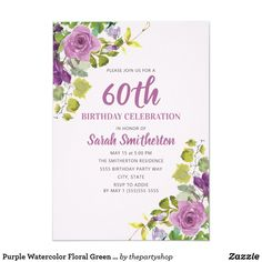 Shop Purple Watercolor Floral Green Vines Birthday Invitation created by thepartyshop. 60th Birthday Party Invitations, Pink Invitations, Floral Invitation, 40th Birthday, Floral Watercolor, Vines, Purple, Green, 30th