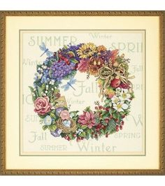 Dimensions Gold Collection Counted Cross Stitch Kit, A Wreath of All Seasons, 18 Count Ivory Aida, x Counted Cross Stitch Patterns, Cross Stitch Embroidery, Ribbon Embroidery, Embroidery Patterns, Dimensions Cross Stitch, Cross Stitch Flowers, Four Seasons, Cross Stitching, Decoupage