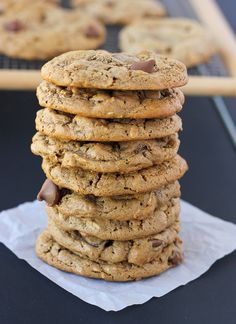 Flourless oatmeal chocolate chip cookies made with almond butter