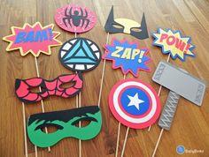 Photo Props: The Marvel Super Hero Set (10 Pieces) - party wedding birthday mask pow wolverine thor spiderman hulk america avengers on Etsy, $35.66 AUD