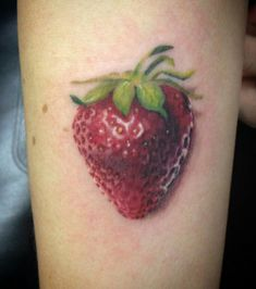 Strawberry on my forearm, super fresh. Danielle Houston at Tattoo Lab, Dublin, Ca.