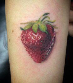 Strawberry on my forearm, super fresh. Danielle Houston at Tattoo Lab, Dublin, Ca.