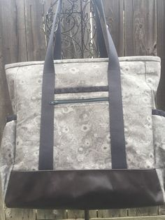 Yellow and Grey Large Tote with zipper, Travel Tote, Diaper Bag ...
