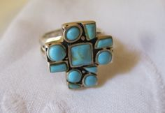 Vintage Sterling Turquoise Cross Ring 925 by Sisters2Vintage, $38.00
