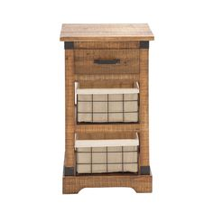 Attractive natural wood cabinet features cloth-lines metal storage baskets and a top drawer. Perfect as an end table, entry table or anywhere you want to fill space with practical storage.