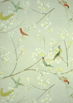 Bird Pattern Wallpaper, by Luise Delefant
