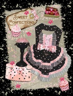 Dog clothes pattern to sew Sweet Confections- harness dress and cupcake hat!