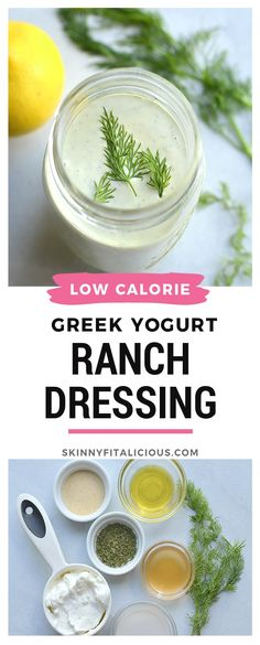 This lightened up dressing is low in fat and calories and higher in protein. Made mayo free making this a healthier, waist friendly salad dressing. Top on salads, sandwiches or serve as a dip. Low Fat Salad Dressing, Yogurt Ranch Dressing, Greek Yogurt Ranch, Creamy Salad Dressing, Salad Dressing Recipes, No Calorie Dressing Recipe, No Mayo Ranch Dressing Recipe, Fat Free Salad Dressing Recipe, Greek Yoghurt