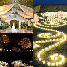 perfect wedding...outdoor decorated wedding ceremony and outdoor night time reception!