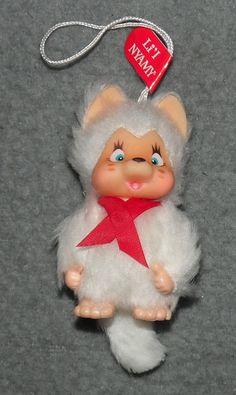 Monchichi Lil Mini Nyamy Baby Katze weiß Monchhichi Vintage 60er 70er Jahre Li´l