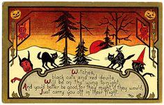 1914 GK PRINCE VINTAGE HALLOWEEN POSTCARD - FANTASTIC IMAGERY !