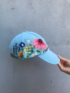 4a8f873a Hand Embroidered Hat / Custom Embroidered Hat / Floral Embroidered Hat /  Embroidered Baseball Caps /