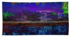 Abstracto Toalla de playa con el arte digital Paisaje Abstracto Nocturno de Galeria Zullian Trompiz