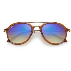 22182b4c2353a Ray Ban Plastic Modern Aviator Sunglasses Light Brown with Blue Flash  Mirror Gradient Lenses