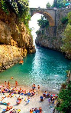Furore Beach in Amalfi Coast, Italy