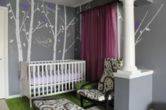 seating area of master bedroom transformed into nursery