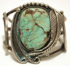 Vintage Old Pawn Navajo Lone Mountain Turquoise Sterling Silver Cuff Bracelet