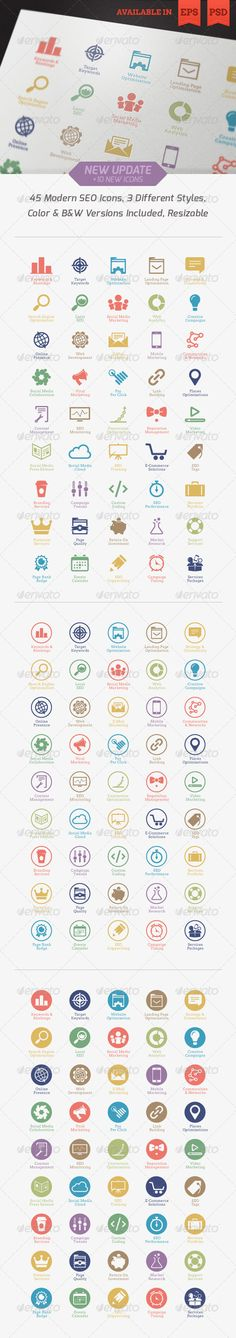 Modern SEO Services Icons - GraphicRiver Item for Sale