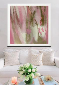 45inch, Pastel Colors Print, Watercolor, Light Pink and Gold, Beige, Abstract…