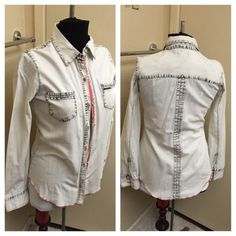 Long Sleeve Button Down Blouse Looks great with jeans, in excellent condition. Distressed look. Tops Button Down Shirts