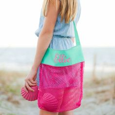 Shell Tote Monogrammed Pink & Blue