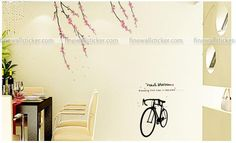 Black Bicycle And peach blossom Wall Sticker Flower Wall Stickers, Peach Blossoms, Bicycle, Interior Design, Flowers, Blog, Home Decor, Nest Design, Bike