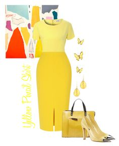 """""""Yellow Pencil Skirt"""" by amchavesj-1 ❤ liked on Polyvore featuring Latelita, Alice & You, L.K.Bennett, Orla Kiely, Louis Vuitton and pencilskirt"""
