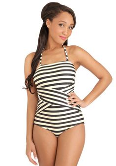 Down for a Dip One Piece in Black and White *modcloth #ad *cute