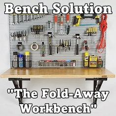 """Garage Organization Made Easy. Bench Solution """"The Fold-Away Workbench"""" is a great tool storage and garage workstation system. Visit - https://www.benchsolution.com/products/workbench/"""