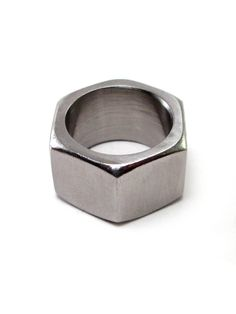 Hex nut ring, stainless steel band, chunky, industrial, unisex, geometric…