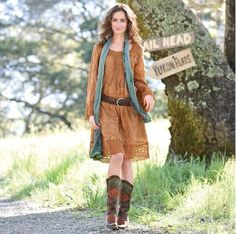 Dresses With Cowboy Boots | Anastasia Eyelet Dress and Boots from Sundance. Looking comfy.