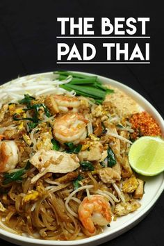 """Pad Thai I'm so excited about this recipe, because my hubby was AMAZED with my Pad Thai recipe. When he had the first bite, he was like """"this is the best pad thai I've ever had!"""" Make the BEST Thai recipe at home! - The BEST Pad Thai Recipe! Seafood Recipes, Chicken Recipes, Dinner Recipes, Cooking Recipes, Thai Food Recipes, Cooking Games, Seafood Menu, Seafood Stew, Cooking Corn"""